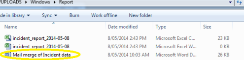 mail merge folder